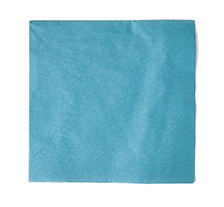 Light blue paper napkin isolated on white background; top view Stok Fotoğraf