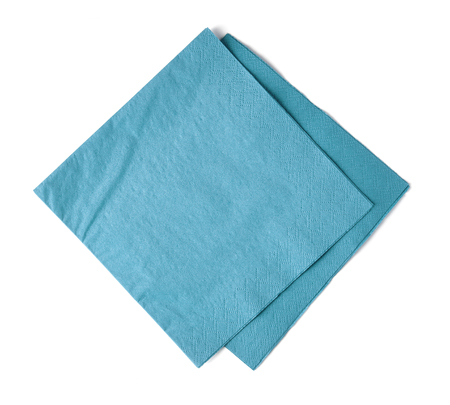 Light blue paper napkins isolated on white background; top view Stok Fotoğraf