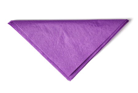Purple paper napkin isolated on white background; top view Stok Fotoğraf