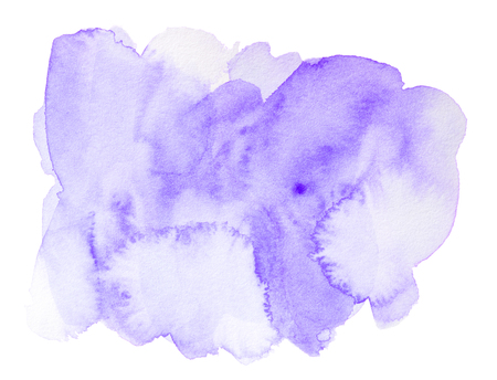 Abstract purple watercolor splash isolated on white background Stock Photo