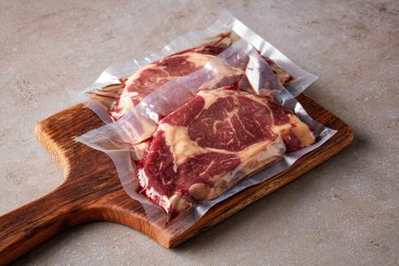 Beef steak vacuum sealed ready for sous vide cooking Stock fotó - 107588609