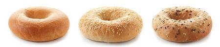 Fresh bagels isolated on white background 스톡 콘텐츠