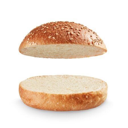 Open and empty burger bread isolated on white background; full depth of field