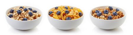Three bowls of different cereals with fresh blueberries isolated on white background Reklamní fotografie