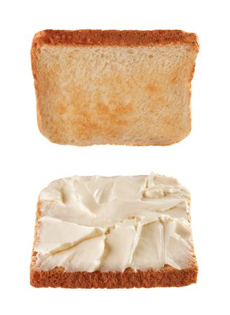 Toast breads for sandwich levitating isolated on white background Foto de archivo