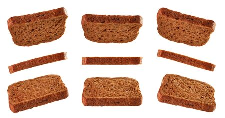 Toasted breads for sandwich levitating isolated on white background