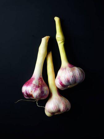 Fresh garlic bulbs on black background, top view Stock Photo