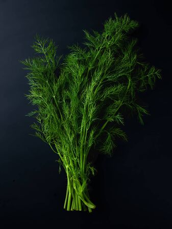 Bunch of fresh green dill on black background, top view