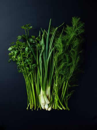 Bunch of fresh dill, parsley and scallions on black background, top view
