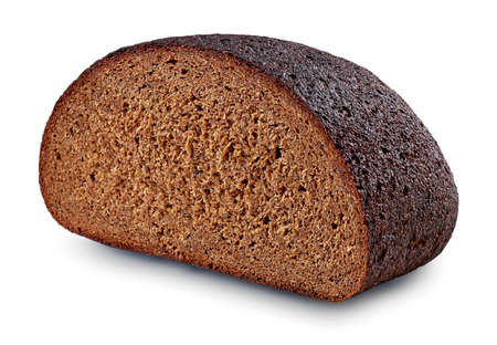 Freshly baked loaf of rye bread isolated on white background