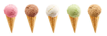 Set of large ice cream scoops in waffle cone - strawberry, chocolate, green vanilla, pistachio and caramel ice cream isolated on white background Reklamní fotografie