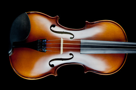 rosin: Violin classically lit isolated on black background Stock Photo