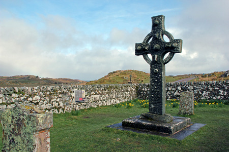 Ancient Celtic cross in old Kildalton churchyard, Isle of Islay, Scotland.