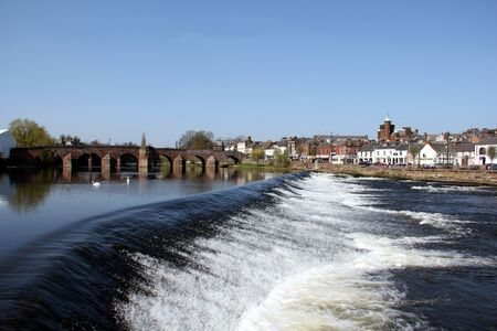 dumfries and galloway: The River Nith and old bridge at Dumfries, Scotland. Stock Photo