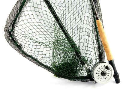 white salmon river: A fly fishing outfit of rod, reel and landing net isolated on a white background
