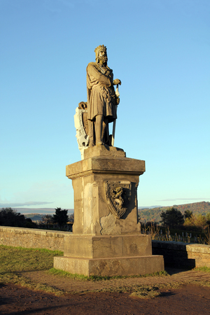 Weatherworn statue of Scottish King Robert The Bruce at Stirling Castle Scotland