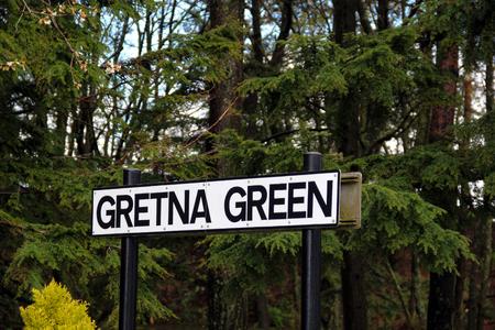 gretna green: Gretna Green village signpost Scotland
