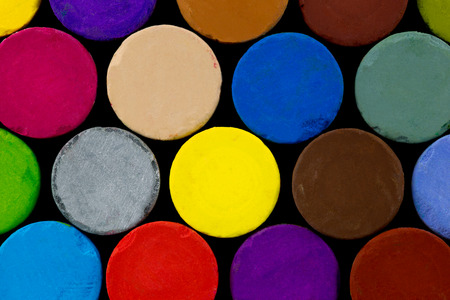 hues: End -On View of Selection of Artists Oil Pastels Stock Photo