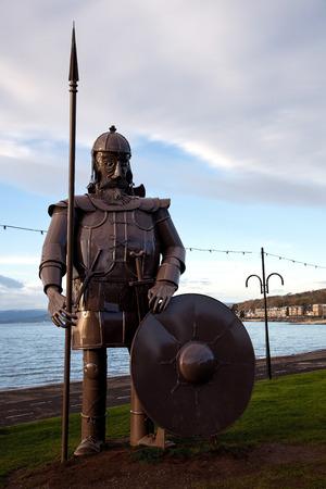 effigy: Metal Viking warrior effigy at Largs seafront Scotland Stock Photo