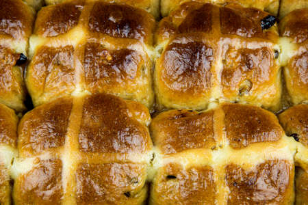 easter cross: Freshly baked hot cross Easter buns still in baking tray