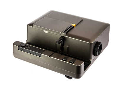 slide show: 35mm slide projector isolated against a white background