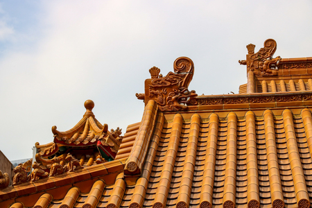 roof ridge: Chinese religious temple roof tiling detail