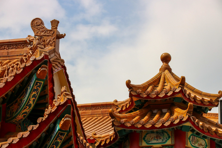 Chinese temple roof tiles and decoration detail