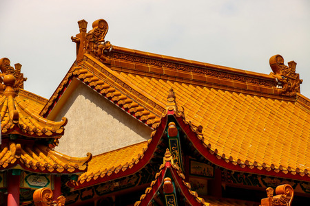 Chinese temple pagoda roof tiling detail