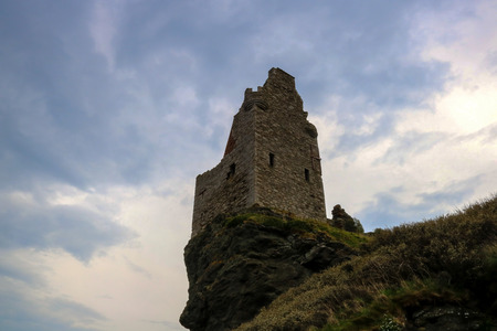 Greenan Castle ruins Ayrshire Scotland in early evening