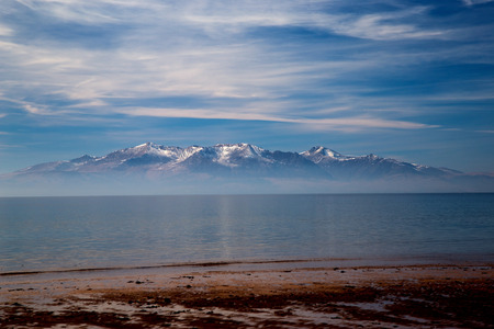 Isle of Arran evening view from Seamill beach Ayrshire Scotland