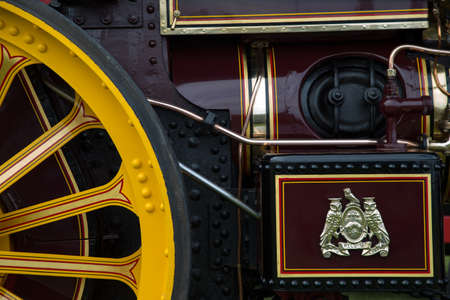 Close up of antique steam engine detail Editorial