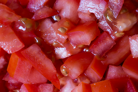 Close up view of finely chopped fresh tomatoes