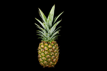 Fresh pineapple isolated against a black background Stockfoto