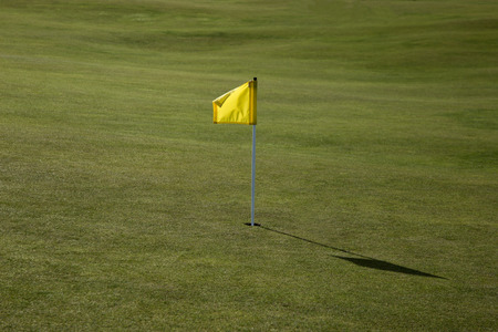 Yellow marker flag on a golf course