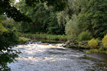 Autumnal river scene in Ayrshire Scotland