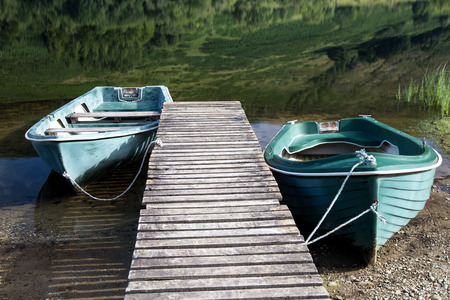 Two rowing boats moored at a Scottish highland loch