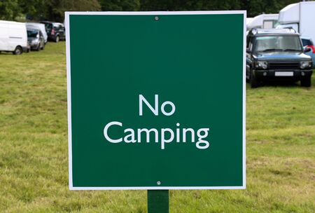 No camping sign at a country fair in Scotland
