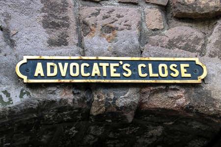 Old Alleyway sign in Edinburgh old town Scotland