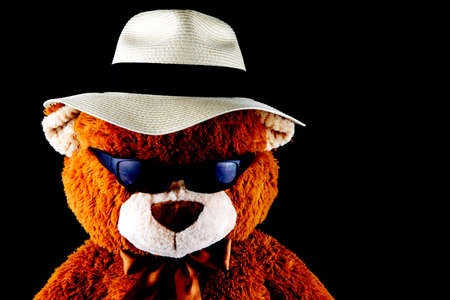Teddy bear wearing a Panama hat and sunglasses isolated on a black background