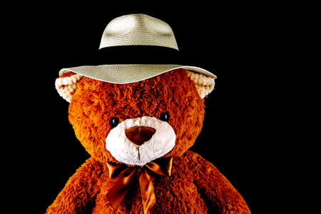 Teddy bear wearing a Panama hat isolated on a black background