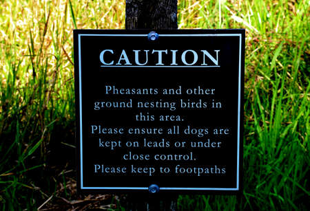 Birds nesting sign at a country estate