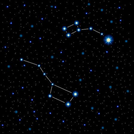 illustration avec étoiles brillantes et les constellations dans le ciel nocturne. Grand ours et petit ours. étoile polaire. Vecteurs