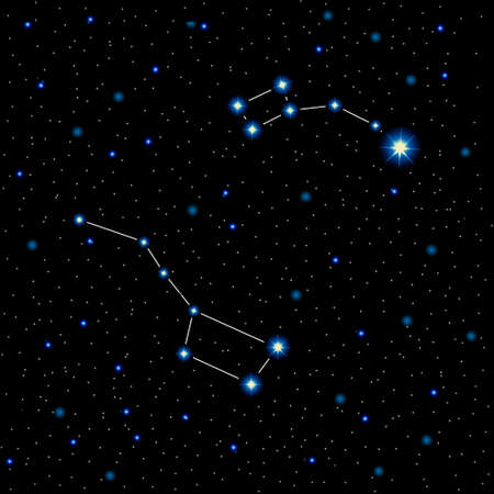 ursa: illustration with shining stars and constellations in the night sky. Great bear and little bear. Polar star. Illustration
