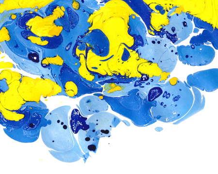cerulean: Abstract marbling ebru colorful background with waves and splashes Stock Photo