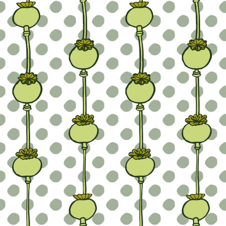 polka dotted: Poppy head seamless hand drawn pattern on polka dotted background. Vector illustration Illustration