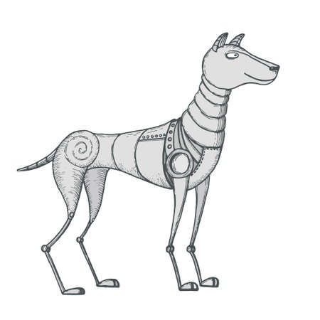 Hand-drawn vector illustration of robot dog in retro style Illustration