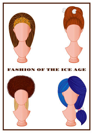 hairband: Set of various Ice Age fashion hair styles on mannequins
