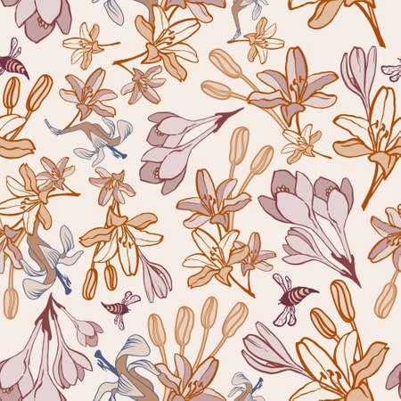 bee party: Hand-drawn summer flower vector seamless pattern