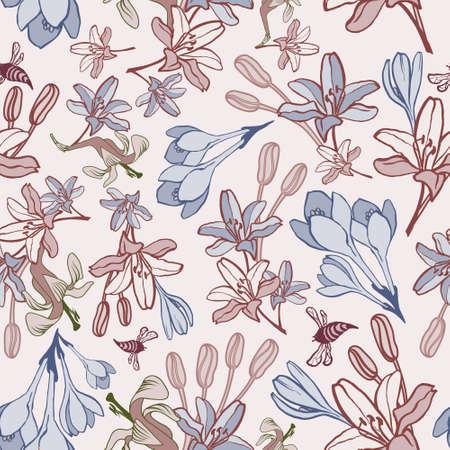 handdrawn: Hand-drawn summer flower vector seamless pattern