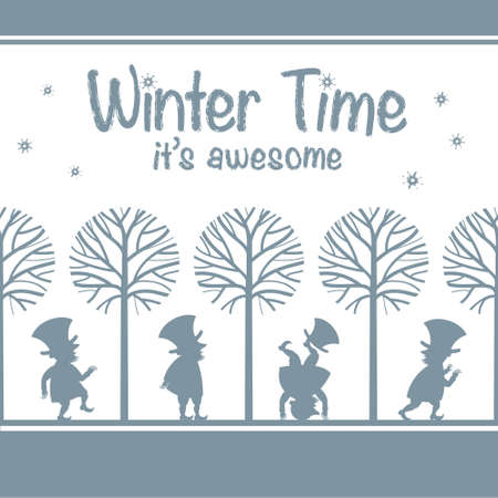 winter garden: Endless background pattern with various leprechaun or gnome figures in winter garden. Vector illustration